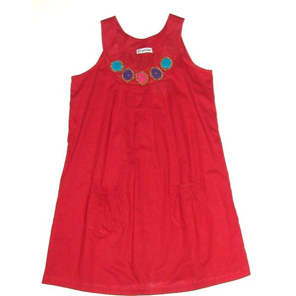 Vestido suelto liso de color rojo
