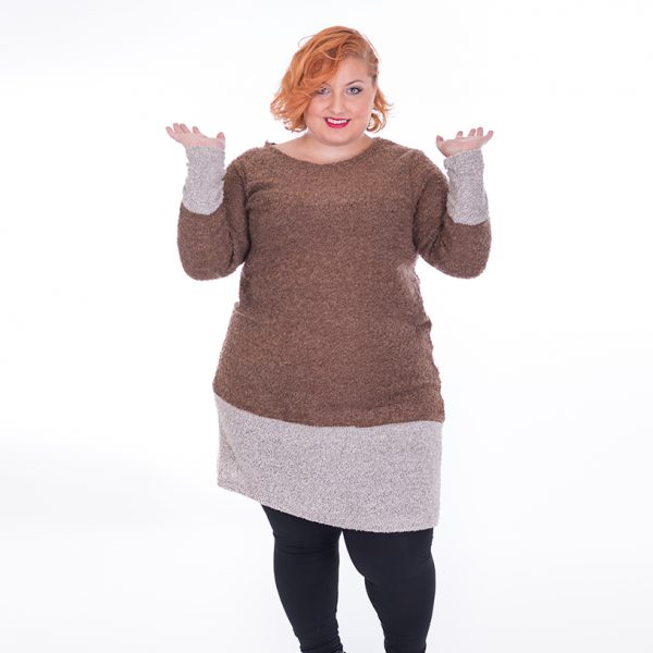 Vestido de manga larga en tejido de punto de lana rizado