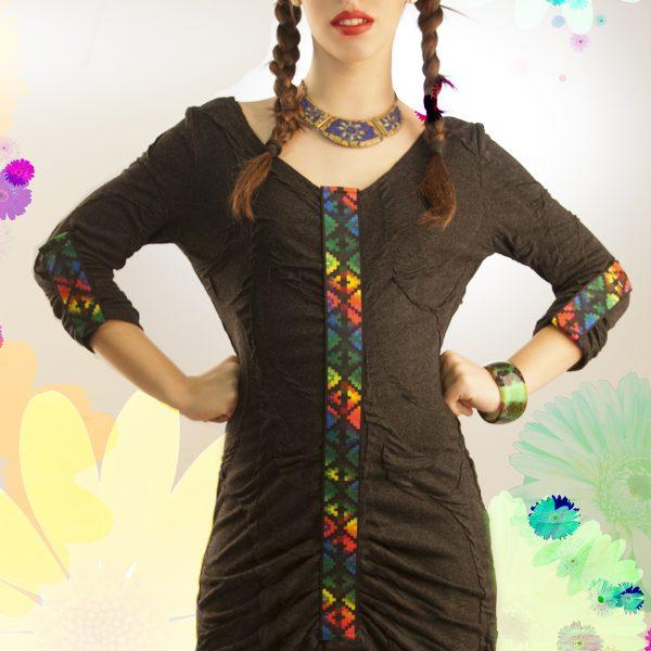Vestido gris étnico