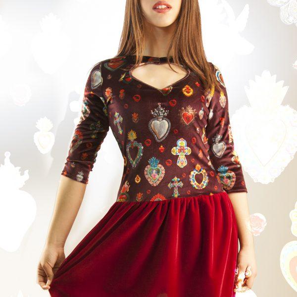 Vestido terciopelo corazón grande